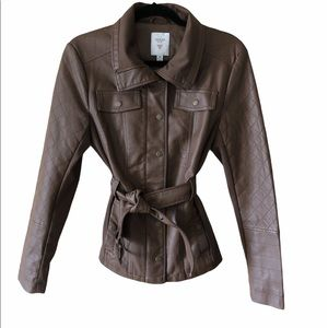 Guess Brown Leather Jacket Size Medium